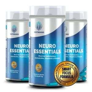 NEUROESSENTIALS – 3 Frascos. 3 meses de tratamento natural para concentração, memória e foco